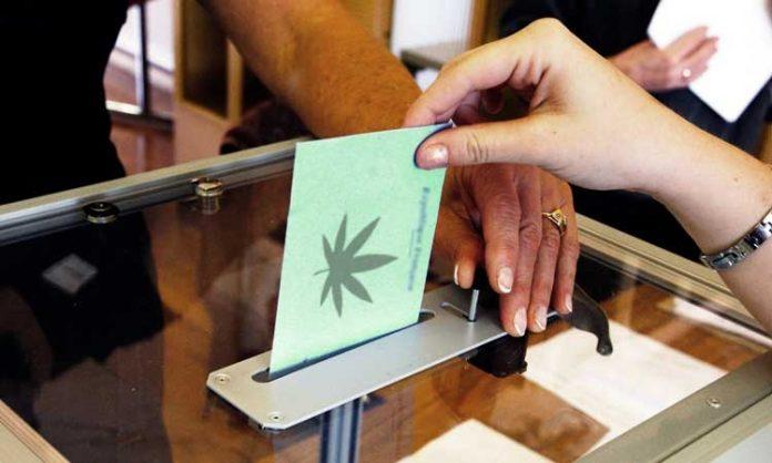Jemand wirft einen Abstimmungs-Umschlag in eine Box