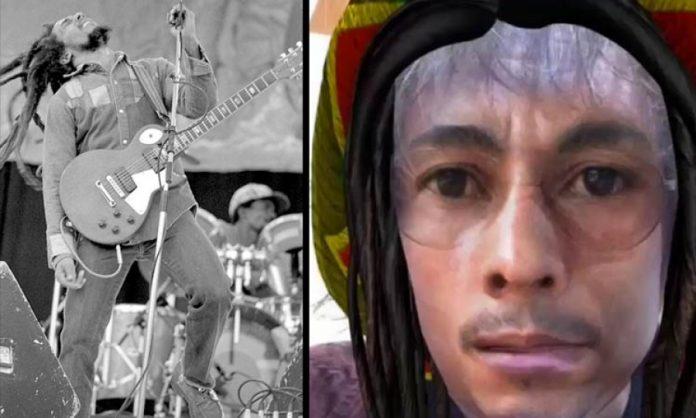 Zweigeteiltes Bild. Links: Bob Marley, rechts: der entsprechende Filter von Snapchat