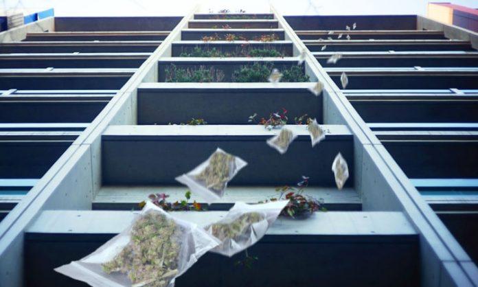 Mehrere Tütchen mit Marihuana fallen vom Balkon