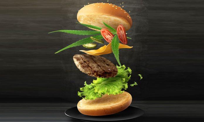 Ein Burger mit Hanfblatt