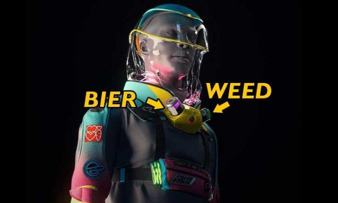 Visualisierung eines Schutzanzuges mit Einlässen für Weed und Bier