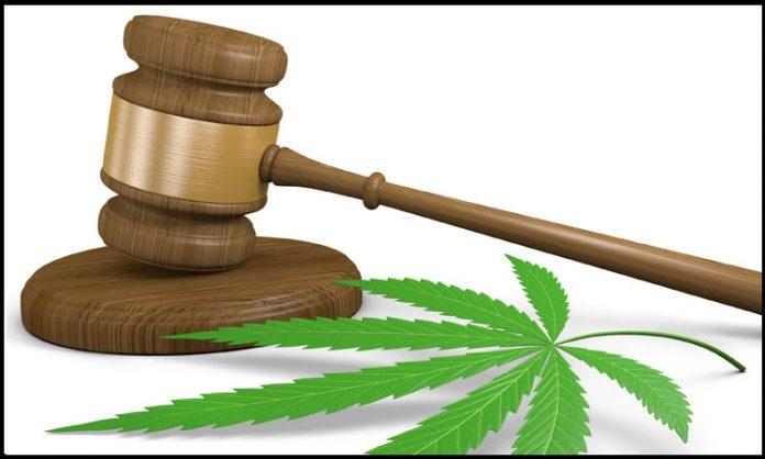 Cannabisblatt und Richterhammer