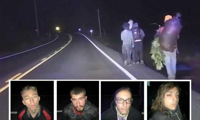 Polizeifotos von vier jungen Herren