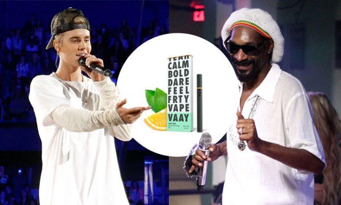 Fotomontage: Justin Bieber und Snoop Dogg, ein Vaay-CBD-Produkt
