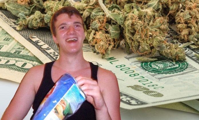 Fotomontage: Stanley-Meme, im Hintergrund Dollarscheine und Marihuana