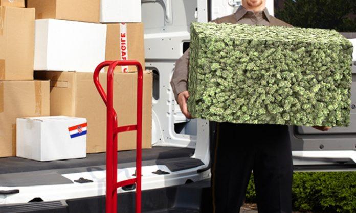 Fotomontage: ein Bote trägt ein Paket aus Cannabis
