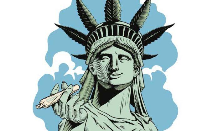 Zeichnung der Freiheitsstatue mit Joint in der Hand