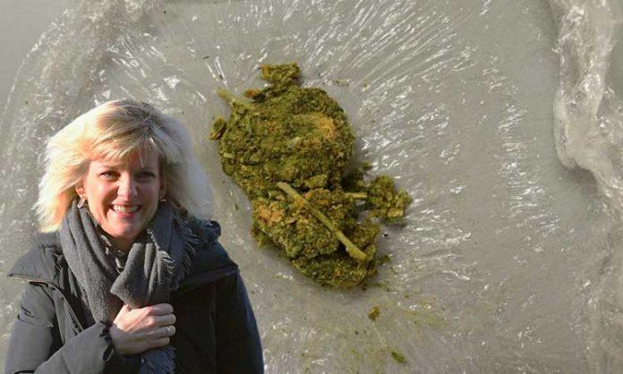 Bundesdrogenbeauftragte Daniela Ludwig und eine Blüte Marihuana mit synthethischen Cannabinoiden