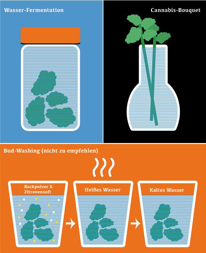 Drei Arten des Bud-Washing (Schema)